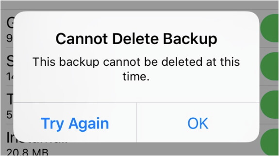icloud backup cannot be deleted at this time