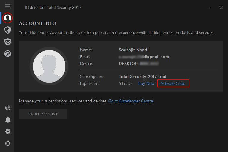 account information on bitdefender