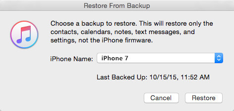 restore itunes backup iphone 7