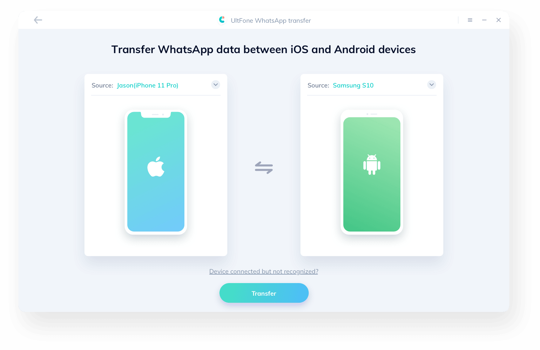 デバイスとコンピュータを接続してwhatsappを転送