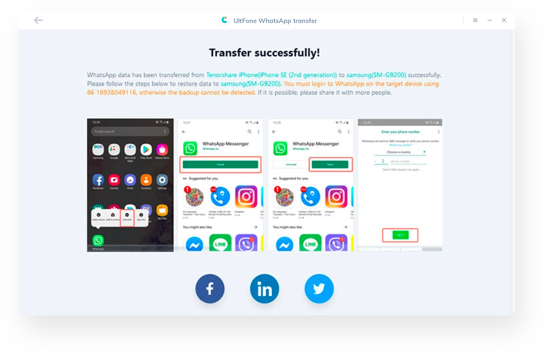 whatsapp transfer from iphone to android successfully